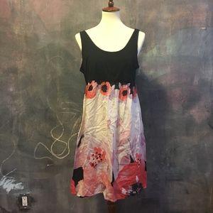 Eloise/Anthropologie Black Floral Easy Tankdress